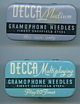 x2 DECCA GRAMOPHONE NEEDLE TINS MEDIUM & MULTI PLAYING HAVE CONTENTS GD COND E76