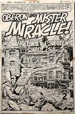 MISTER MIRACLE 14 original art splash by JACK KIRBY and MIKE ROYER -- DC - 1973