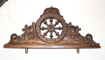 antique 1800s hand carved wood nautical sculpture architectural salvage pediment
