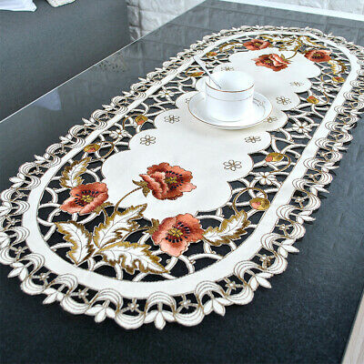 Oval Tablecloth White  Embroidered Flower Hollow Coffee Table  Cover Decorations