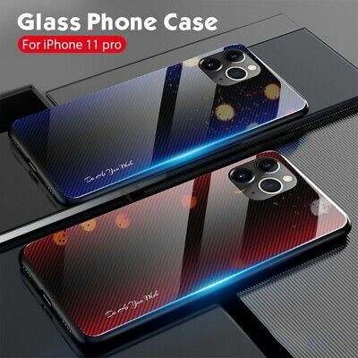 For iPhone 11 Pro Max XS XR 8 7 6s+ Gradient Glass Soft Bumper Hybrid Case Cover
