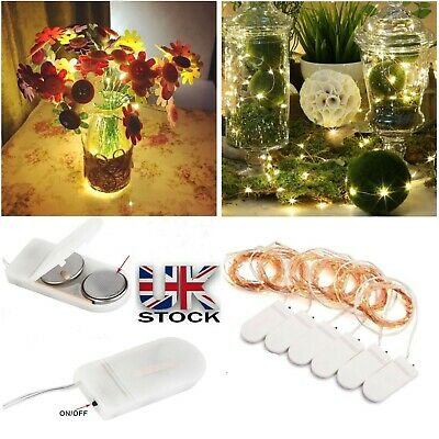 UK 2M 10 Pcs Set 20 LED Battery Micro Rice Wire Copper Fairy String Lights Party