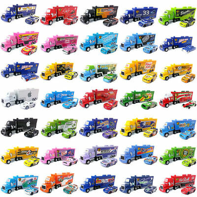 Pixar Cars Mack Racer's Hauler Truck & Racers Metal Toy Car 1:55 Boy&Girls Gift
