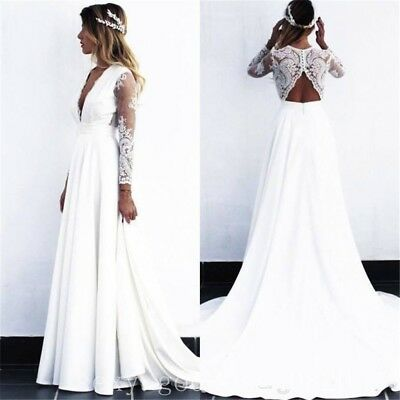 Bohemian Lace Chiffon Beach Wedding Dresses Long Sleeve Boho Bridal Gowns Custom