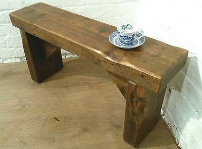 3ft Size CHURCH BEAM Solid Rustic Wood Reclaimed Pine Dining Chair Vintage Bench