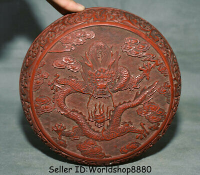 """7.6"""" Antique Old Chinese Red Lacquerware Dynasty Palace Dragon Jewelry box Boxes"""