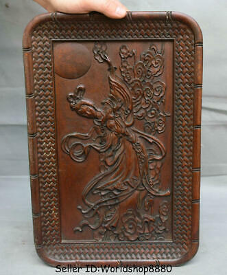 """14.2"""" Antique Old Chinese Huanghuali Wood Carved Beauty dancing girl Plate Tray"""