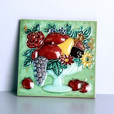 Vintage Majolica Decorative Fruits & Flower Art Embossed Tile,Japan 10849