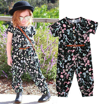 AU Floral Toddler Kids Girl Summer Overalls Romper Jumpsuit Pants Outfit Clothes