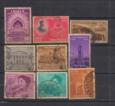 India 1957 Complete Year Set of 8 Used Stamps