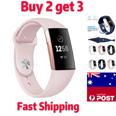 Fitbit Charge 3 Watch Soft Silicone Replacement Band Strap Wristband Strap Au