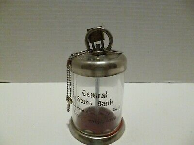Vintage Glass & Metal Coin Bank W/Lock Advertising Central State Bank