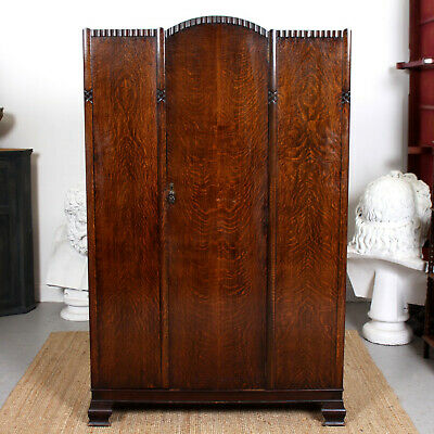 Antique Oak Wardrobe Carved Vintage Armoire