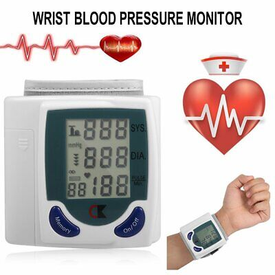 Digital LCD Wrist Cuff Arm Blood Pressure Monitor Heart Beat Meter Machine ND