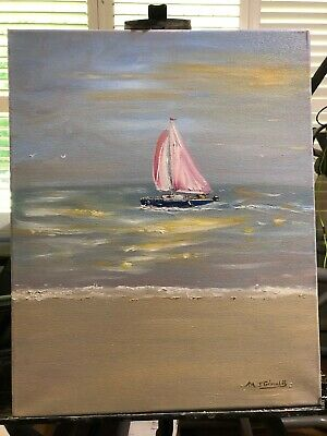 "Fine Art Oil Painting  by M.J.Grimaldi Called  "" Hazy Sunset Sailing"""