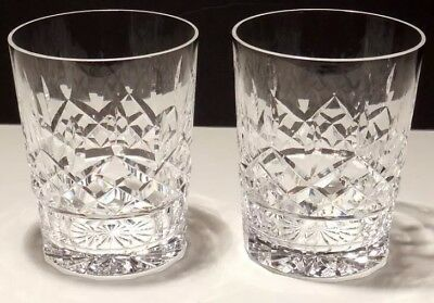 """2 Vintage Waterford Crystal Lismore Double Old Fashioned Tumbler Glasses 4 3/8"""""""