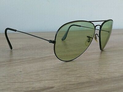 VINTAGE 60s PRE ETCHING RAY BAN B&L BLACK AVIATOR AVIATOR SUNGLASSES MADE IN USA