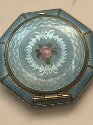 Powder Compact Vintage Deco Guilloche Enamel SS Gold Wash  SIGNED FM CO 1930,s