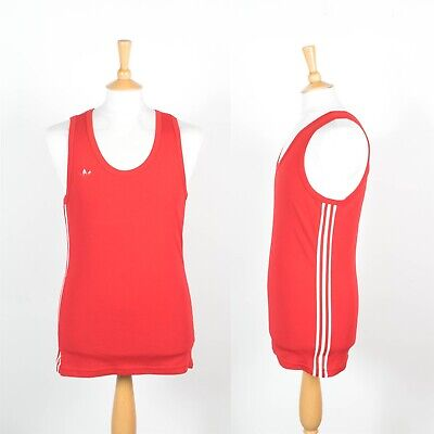 Mens Vintage Adidas 80'S Eighties Vest Tank Athletics Run Jog Red And White S