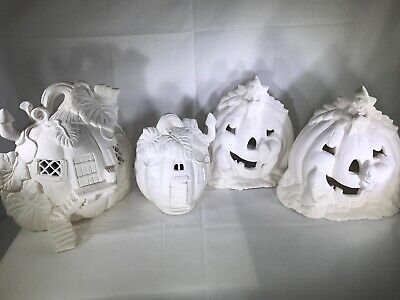 Halloween Ready To Paint Lot of 4 Pumpkin Figurines Two Houses & Two for Lights