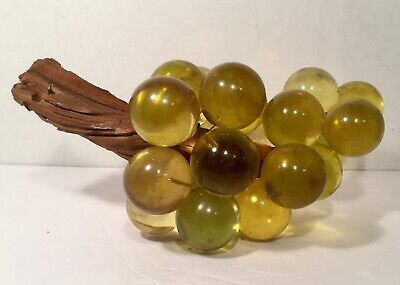 MCM Large Acrylic Lucite Light Amber Yellow Grape Cluster Driftwood