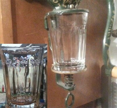 Coffee Catch Cup Glass Jar  fits Antique Arcade / Golden Rule Grinder Columns