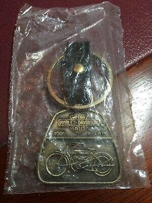 Harley-Davidson 1909 V-TWIN Brass Key Chain Fob Leather Strap Vintage 1987 New