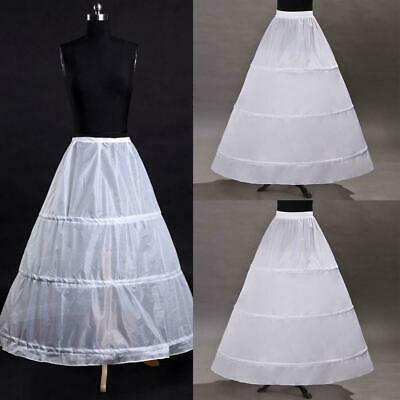 3-Hoop A-Line White Long Wedding Gown Crinoline Petticoat Slips F9M9 Unders Q5K1