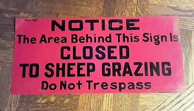 Vintage 1940's Sheep Metal Sign US Forestry Advertising Do Not Trespass Rare