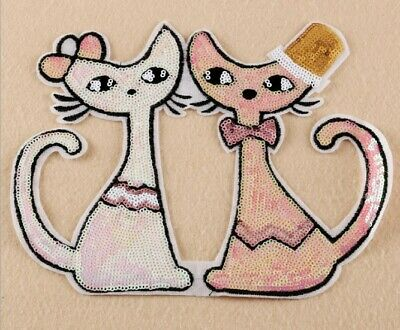 LARGE BIG Embroidered Sequins Couple Cat Patches Appliques Iron On Patch  B034