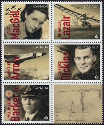 CANADIANS IN FLIGHT = Block of 5 + label = from Minisheet MNH-VF Canada 2019