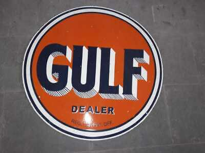 Porcelain  Gulf Dealer Enamel Sign Size 48 Inches Double Sided