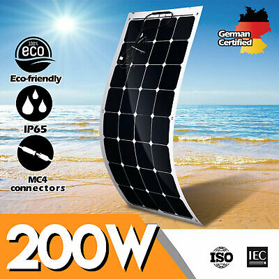 12V 200W Flexible Solar Panel Fix Kit Mono Home Camping Power Charging Battery