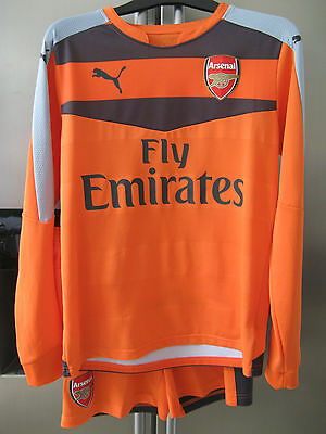 Rare Boys Genuine Arsenal Orange Goalkeeper Kit Top Shorts 32/34 X Approx 11-12
