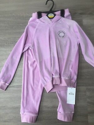 M&S Girls Velour Tracksuit Outfit Set Loungewear 7-8 Years Lilac / Purple New