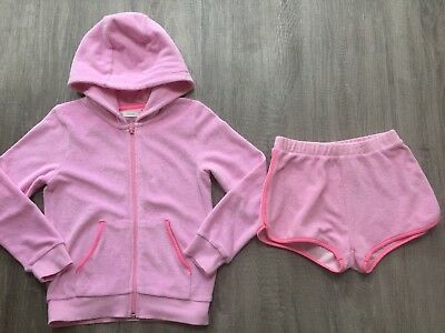 Next Girls Pink Towelling Hooded Jumper Cardigan Top & Shorts Set Pink 7 Y Vgc