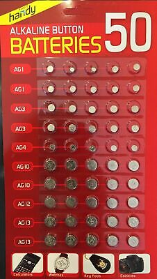 50 Assorted Button Cell Watch Fob Battery Batteries Ag 1 / 3 / 4 / 10 / 12 / 13