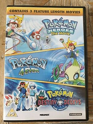 Pokemon Triple Movie Collection DvD Movies 4-6 Heroes, 4ever, Destiny Deoxys