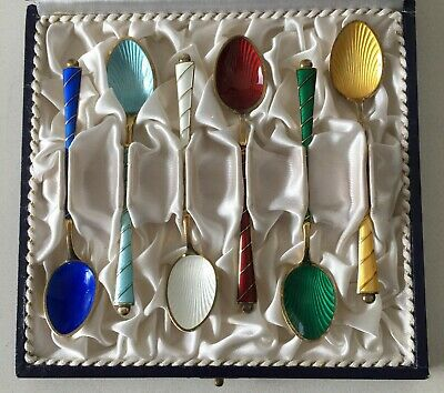 Set 6 Danish Sterling Silver Gilt and Enamel Boxed Coffee Spoons