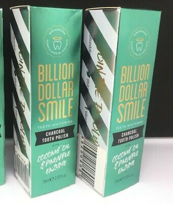 2 X Billion Dollar Smile Teeth Whitening Charcoal Toothpaste + Coconut Oil 75Ml