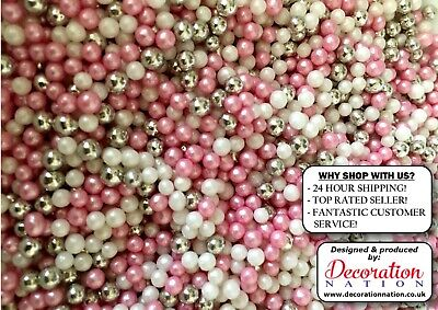 Pink & White Shimmer Pearls WITH SILVER PEARLS Edible SPRINKLES Cake Decoration