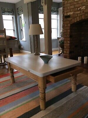 Antique  Victorian Pine Planked Coffee/Occasional Table With Drawer