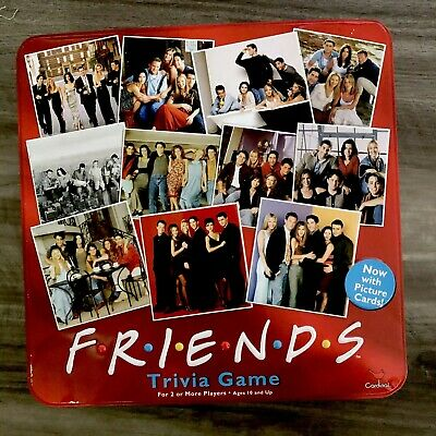 Friends TV Show 2003 Trivia Game with Picture Cards In Collectible Red Tin