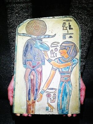 EGYPTIAN ANTIQUE ANTIQUITIES Ram Headed God Amun Ra Stela Stele 1549-1292 BC