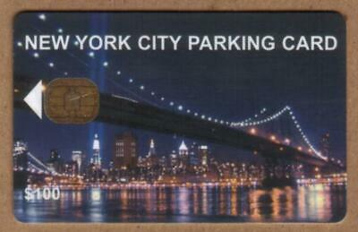 $100. NYC Parking Card: Brooklyn Bridge At Night. Chip #2A VERY USED Smart Card