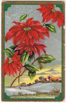 Christmas Postcard Poinsettia Embossed Gold Border Bell Series 406