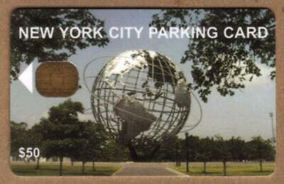 $50. NYC Parking Card: Unisphere Earth Globe. Chip #2A USED Smart Card