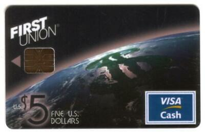 $5. VISA Cash: Partial Globe From Space With Money Sign SVC Chip Card Smart Card