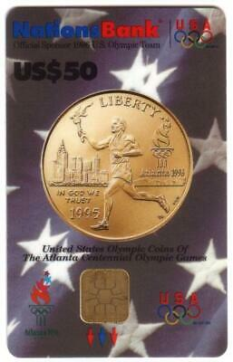$50. 1996 Olympics VISA Cash: Gold Coin Depicting Torch Runner USED Smart Card