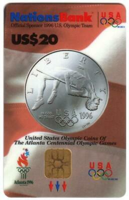 $20. 1996 Olympics VISA Cash: Silver Coin Depicting High Jumper USED Smart Card